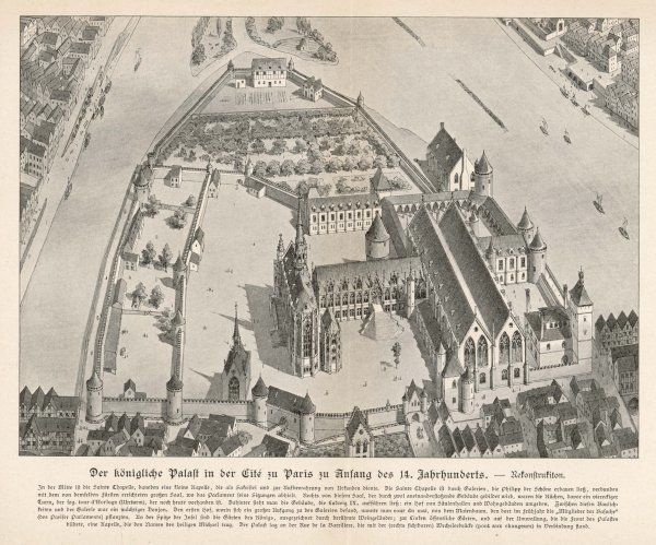 The Royal Palace on the Ile de la Cite : little of this remains today apart from the Sainte Chapelle, seen in the centre of this engraving