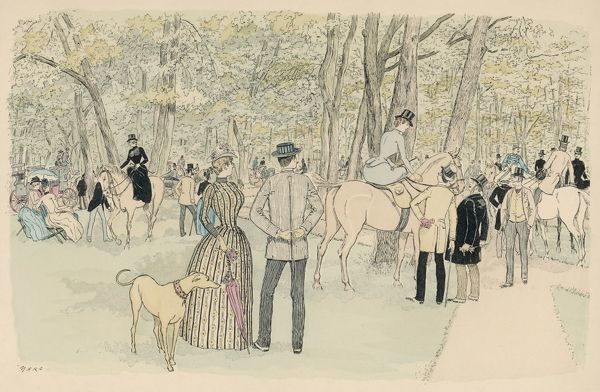 People in the Bois de Boulogne, riding, walking, and stopping for a chat