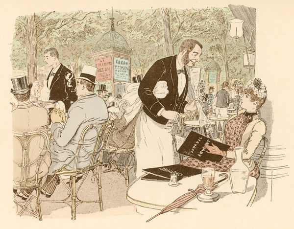 A busy scene at a Paris pavement cafe