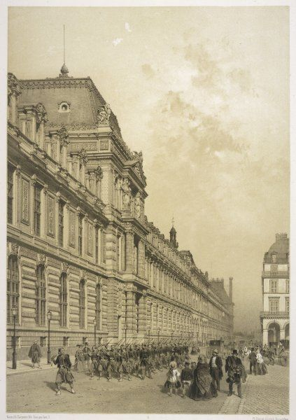 A company of zouaves processes eastwards along the rue de Rivoli, with the new facade of the Louvre on their right
