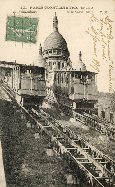 The Montmartre Funicular : the two coaches pass, precisely half-way up (or down) the slope leading to Sacre-Coeur