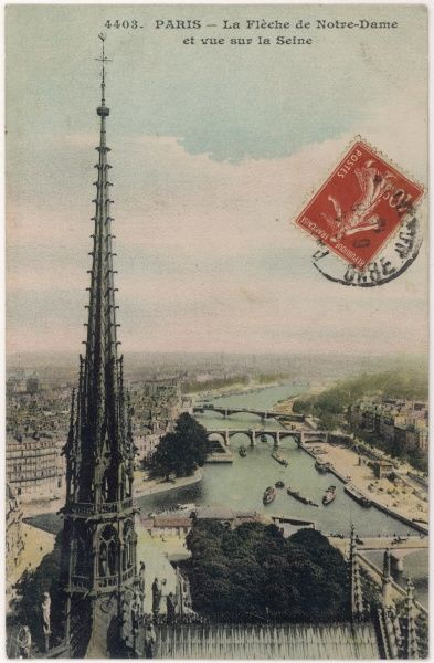 The river seen looking eastwards from the towers of Notre-Dame, with the Ile Saint-Louis to the left, a swimming pool moored just before the second bridge