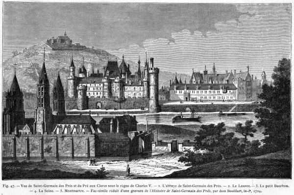 The Abbaye de Saint-Germain des Pres, the Louvre across the Seine, and Montmartre in the distance, in the reign of Charles V