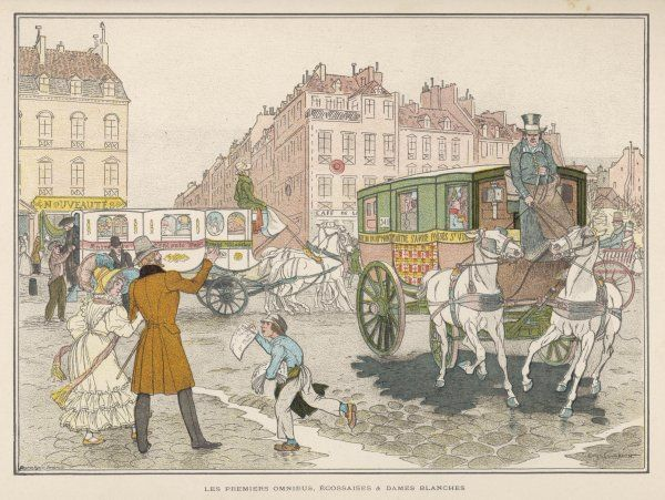 The first omnibuses in the streets of Paris - in the foreground, an 'Ecossaise', in the background, a 'Dame Blanche&#39