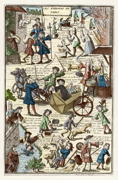'LES EMBARRAS DE PARIS' Barking dogs, beggars, carriage accidents, spills and falls, quarrelsome traders - better to stay home, except that your house is on fire Date: late 17th century