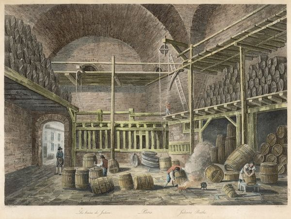 Les bains de Julien, Paris, used as a warehouse by a wine merchant : workmen are cleaning and repairing wine barrels