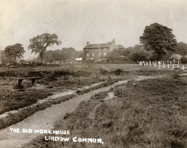 View across Lindow Common, Pownall Fee, Cheshire, with a view of the former parish workhouse