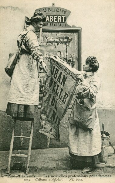 'The New Professions for Women'. An illustration of the French struggle for Women's Rights. Two Feminists put up a poster announcing a women's rights public demonstration/meeting in Paris