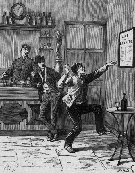 A Parisian drunkard scorns a notice about drink laws. Date: circa 1890