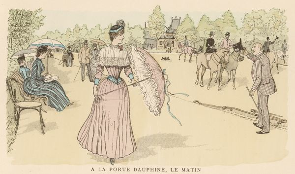 A Parisienne, walking near the Bois de Boulogne, seems to be using her parasol more as a defence against an unwelcome stranger than as a protection from the sun !