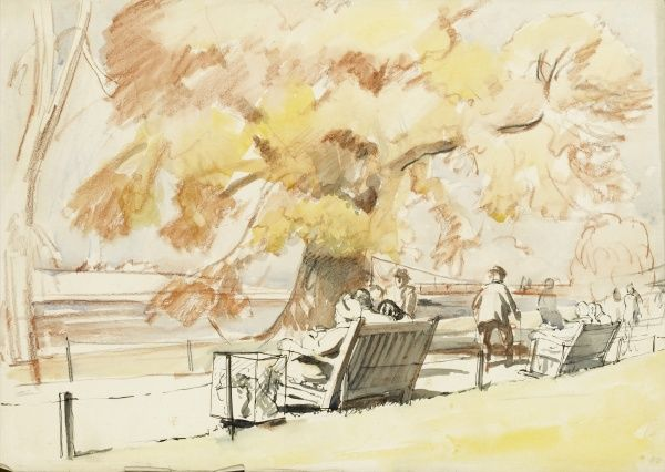 Lakeside park benches in Autumn. Pastel and wash sketch by Raymond Sheppard
