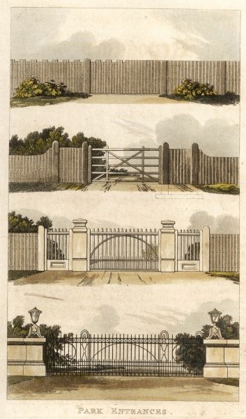 Various styles of park entrance gates