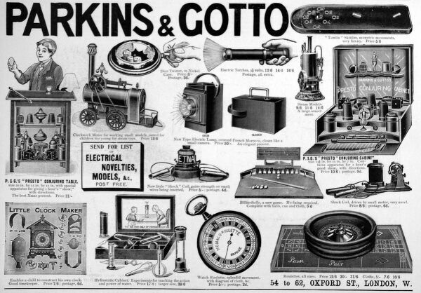 Advertisement from 1905 for Parkins and Gotto, of Oxford Street, London, showing the wide range of electrical novelties and toys available, including torches, a roulette wheel and a conjuring table
