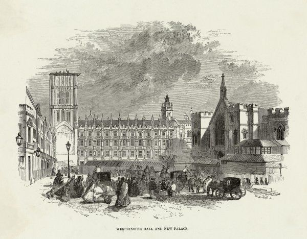 Westminster Hall and New Palace under construction