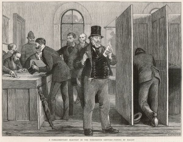 H. Harral and W.V Bromley's impression of men voting by ballot in a Nineteenth Century parliamentary election
