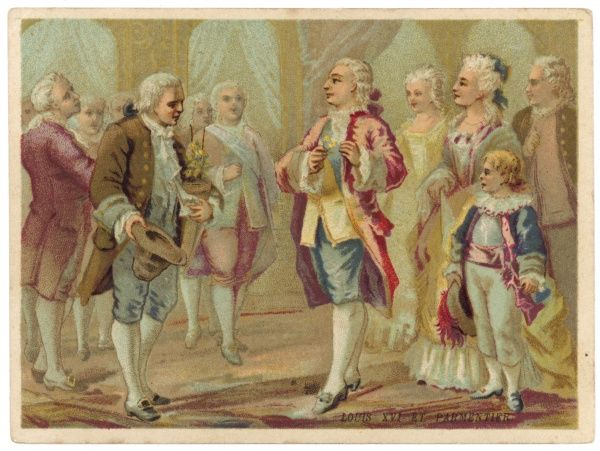 French agriculturist Antoine PARMENTIER presents a potato to Louis XVI ; some laughed, but the king placed a shoot in his buttonhole in recognition of Parmentier's achievement