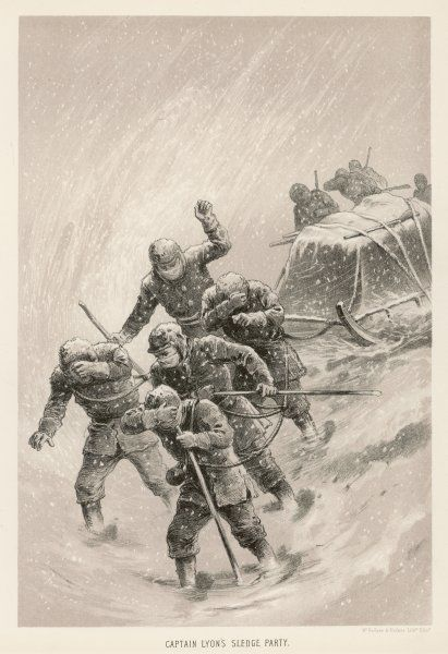 Parry's second expedition: Captain Lyon's sledge party in a blizzard