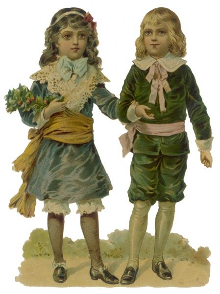 Two children dressed in party clothes