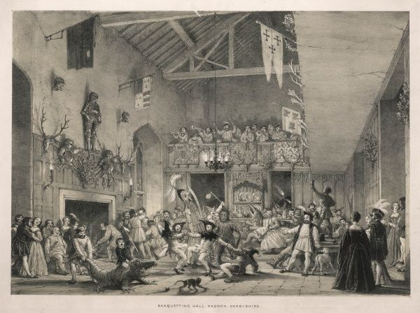 A wild party in the banquetting hall, Haddon, Derbyshire. A band plays in the balcony, while mummers dance and others display their fancy dress