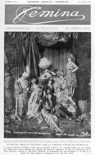 An evening of entertainment entitled 'A dance of a thousand and one nights' held at the abode of the Countess of Aynard Chabrillan on the Rue Christophe-Columb. The countess is shown with a number of her guests, conveying the splendour of the costumes
