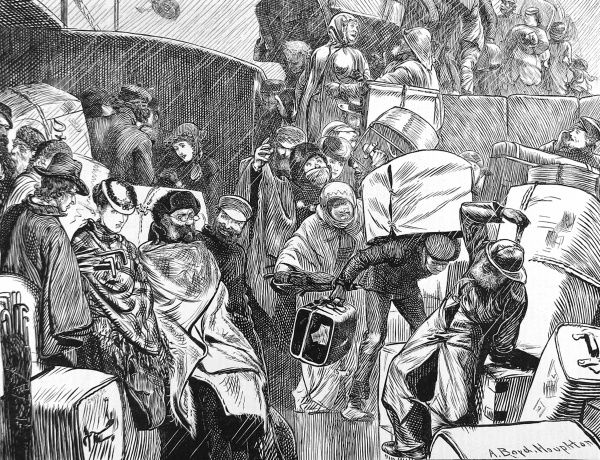 Engraving showing emigrants boarding their ship, in driving rain, at a British port, c.1870