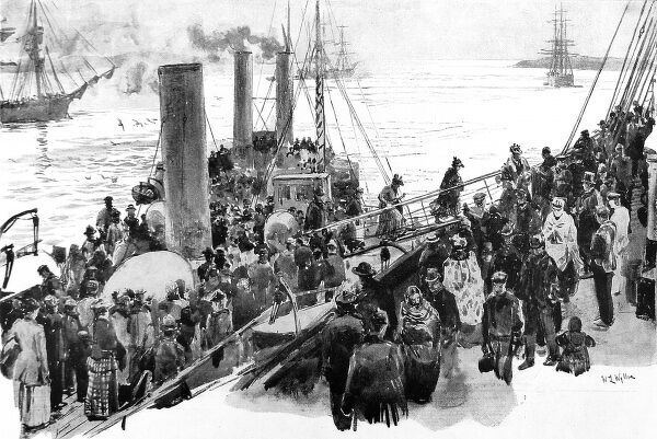 Illustration showing Irish passengers boarding an emigrant ship at Queenstown to travel to America, 1893
