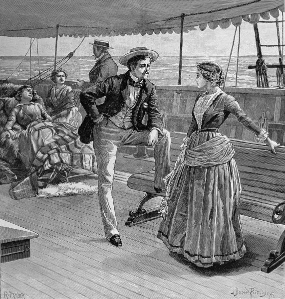 Engraving entitled 'The young girl rose indignantly. 'This is really too shameful! Who dare talk like that?', showing Victorian passengers on the deck of a liner