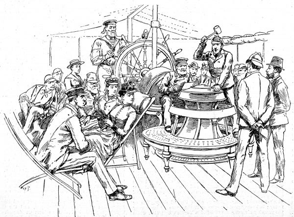 Engraving showing passengers on a trans-Atlantic steamship gathered round the capstan on the deck of the ship, 1888. The passengers shown were involved in buying and selling of pool tickets, as a sailor holds the wheel of the ship in the background
