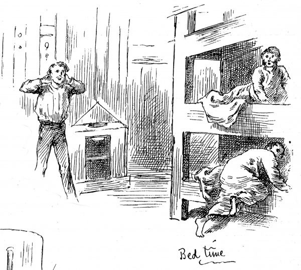 Engraving showing a man trying to get his children into their bunks at bed time on board an emigrant ship heading for America, 1884