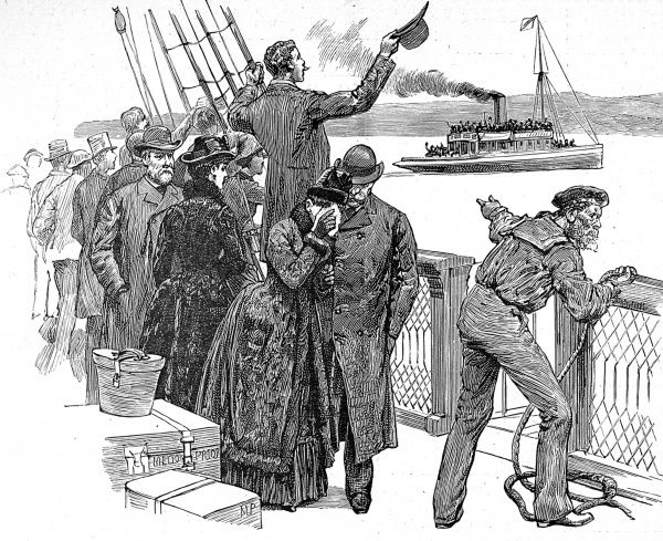 Engraving showing sailor casting off and the passengers waving their hats in the air, as the tug 'Alexandra' departs and the steamship 'Moselle' heads out to sea, 1888