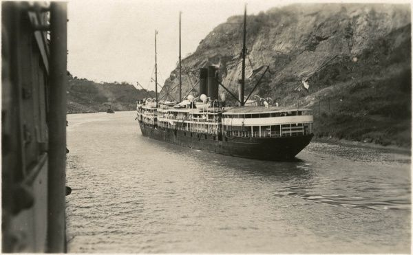 A passing ship on the Panama canal