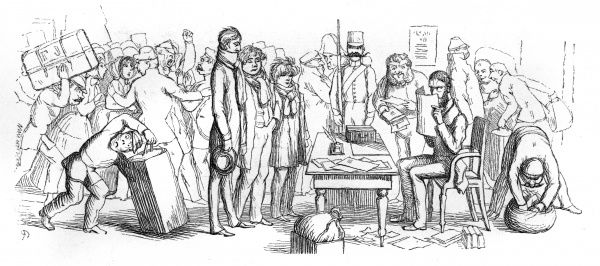 English tourists wait while their passports are examined by a suspicious official at Venice. Date: 1854