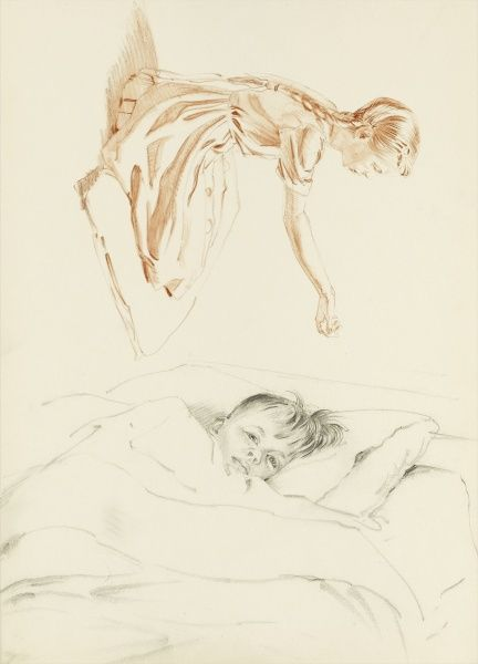 A young girl kneeling on a cushion, holding out her hand and a young boy tucked up under his sheets in bed. Pastel drawings by Raymond Sheppard