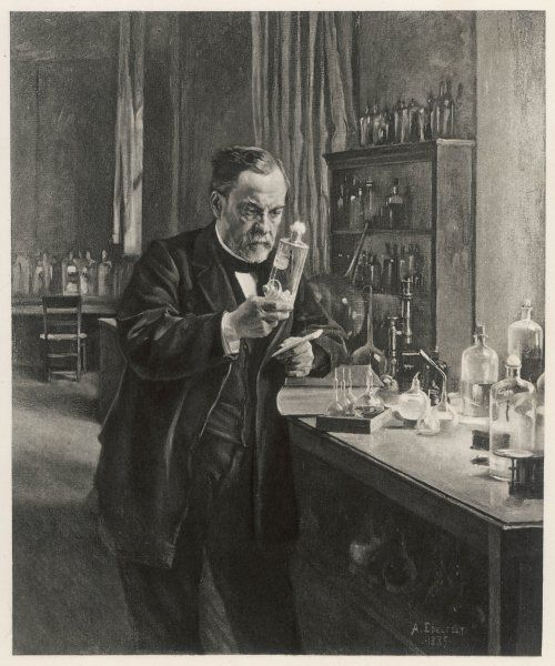 LOUIS PASTEUR in his laboratory in 1885