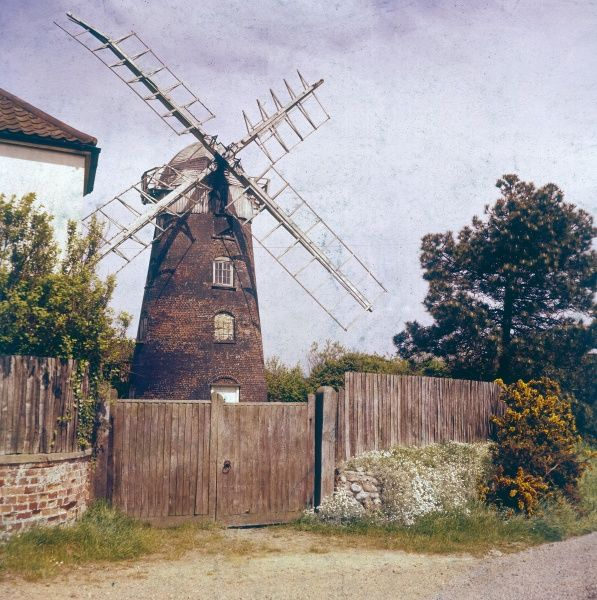 Stow Mill on Stow Hill, Paston, near Mundesley, Norfolk. Often known as 'Paston Mill', it was built with dummy windows to make it look picturesque. Date: built 1827