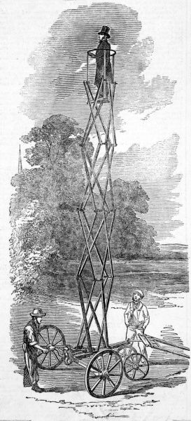 Engraving of the patent elevator and observatory showing a man being elevated into the air for viewing purposes