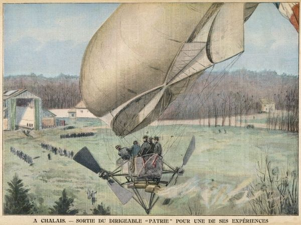 The military airship 'Patrie' on test at Chalons military camp