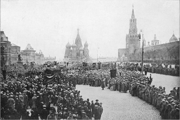 Patriotic demo in Red Square, Moscow : but who are the true patriots - Kerensky's provis- -ional government who staged this demo, or the bolsheviks waiting in the wings ?