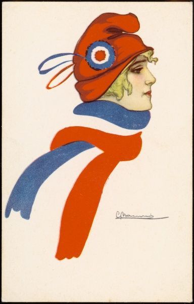 A patriotic French girl wearing matching hat and scarf with the French flag's design
