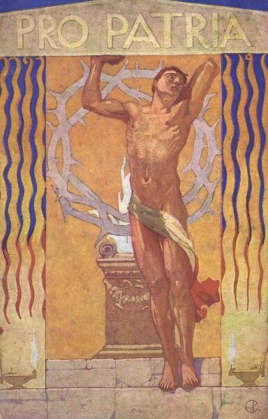 Patriotic Italian postcard featuring an athletic barely-clad man before a flaming altar and a crown of thorns, definitely stressing the importance of some form of personal sacrifice being beneficial to the cause of the state!