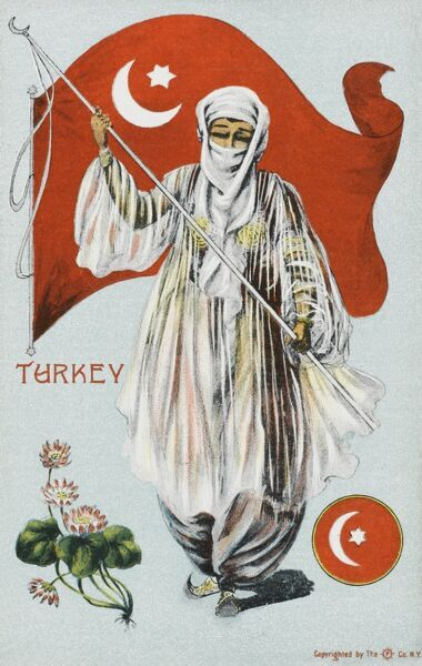 Patriotic pro-Turkish card depicting a veiled Turkish woman in flowing see-through white robes, carrying and waving a large Turkish flag