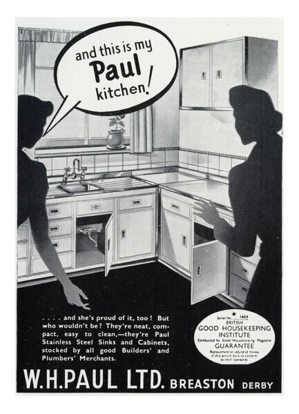 Advertisement for fitted kitchens by W. H. Paul Ltd with a woman showing off her brand new pristine Paul kitchen to her astonished friend