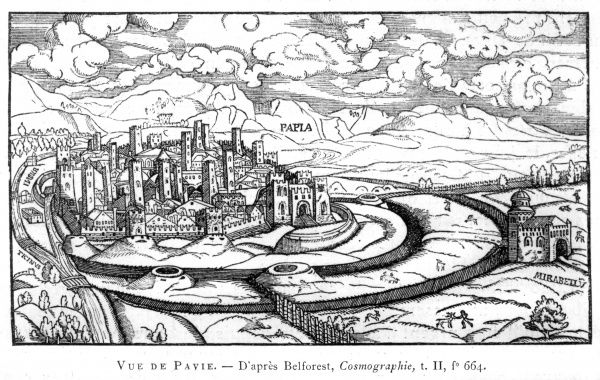 Pavia in the 16th century, showing the defences Date: 16th century