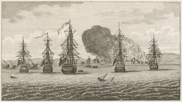 Anson, in the course of his round-the-world voyage, bombards and nearly destroys the town of Payta in northern Peru