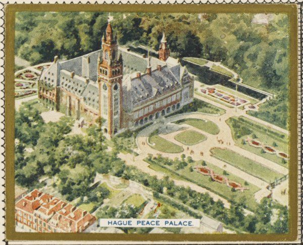 Aerial view of the Peace Palace at Den Haag (the Hague). It was paid for by Andrew Carnegie