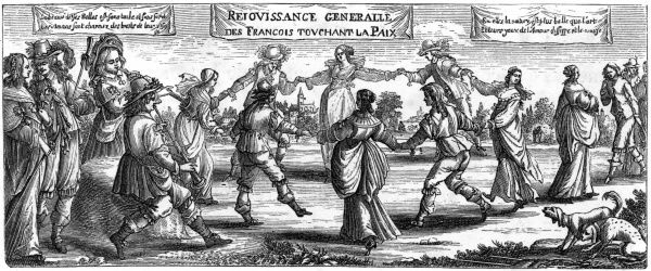 An allegorical print showing the people of France celebrating peace with Spain - but alas, their joy is premature, the two countries will soon be at it again. Date: 1633