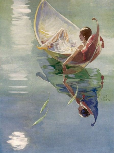 And fishes of emerald, Dive for the moon, Whose silver is stained By the peacock lagoon. (Humbert Wolfe) An elegant lady reclines in a boat, drifting on a calm lagoon, as green fish dive towards the reflection of the moon in the water