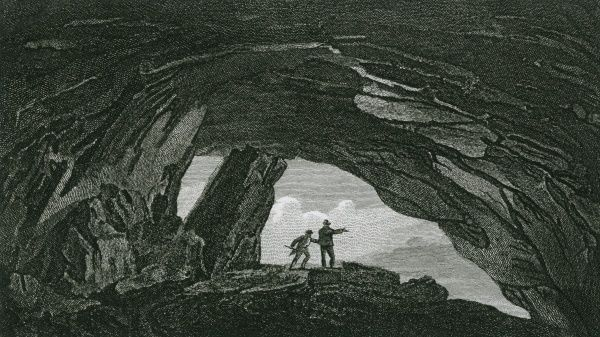 Looking out of the mouth of the Peak Cavern, in the Derbyshire Peak District Date: 1820