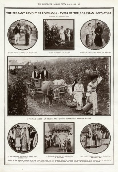 A page from the Illustrated London News showing the kind of Romanian people purported to be involved in the peasants' revolt which began in March 1907 and resulted in the deaths of many thousands of people after the army was called in to restore order