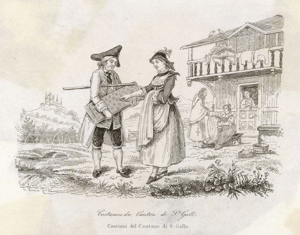 A travelling salesmen shows a young woman a bolt of patterned cloth. He has a yard stick ready to measure her order. A women in the background embroiders
